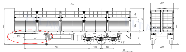 fence semi trailer drawing
