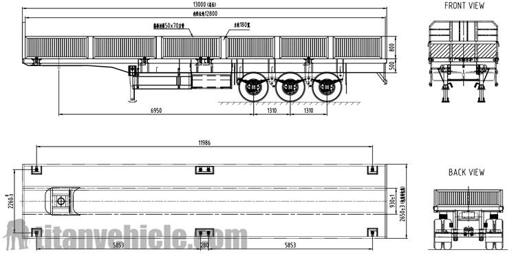 Drawing of 3 axle 60Ton Side wall Trailer