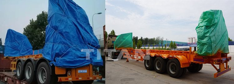 Covers poncho of the container loading trailer