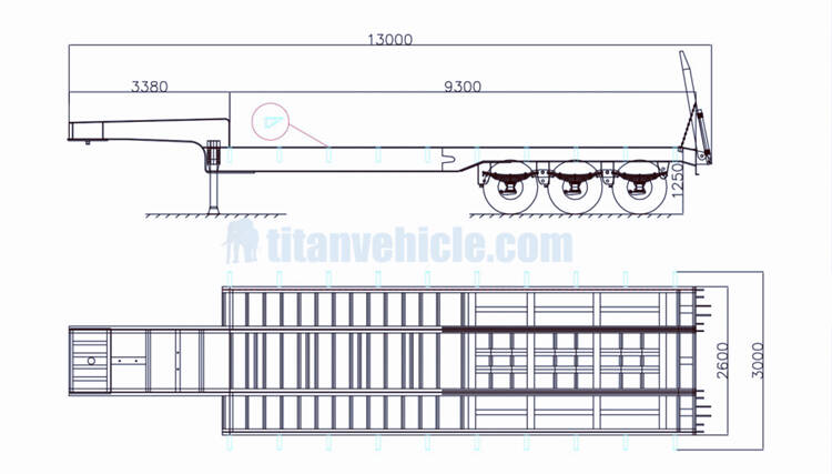 3 axle low bed truck drawing