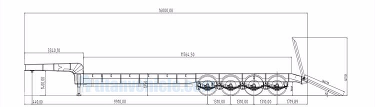 TITAN 4 axle lowbed semi trailer specification drawing
