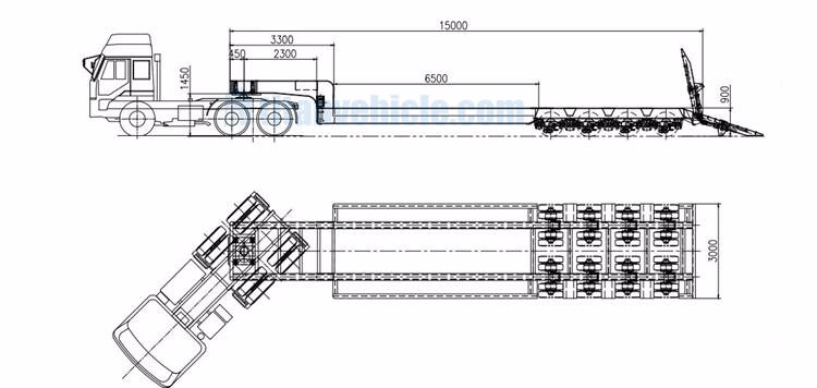 TITAN 4 lines 8 axles low bed trailer technical department