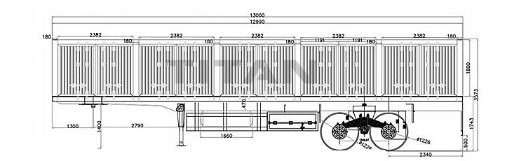 2 axle bogie suspension sidewall trailer drawing