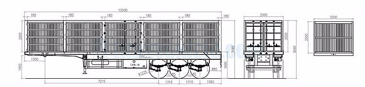 3 axle high side wall cargo trailer technical specification