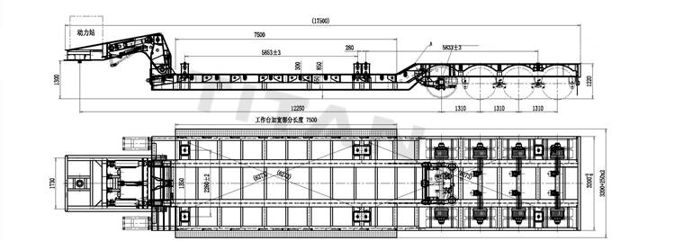 4 axle front loading lowboy trailer technical parameter drawing
