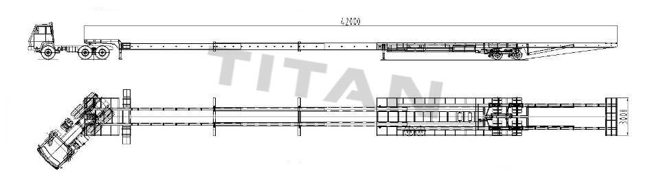 2 line 4 axle 42m extendable trailer technical department drawing