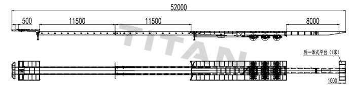 3 axle 52m extendable trailer technical parameter drawing