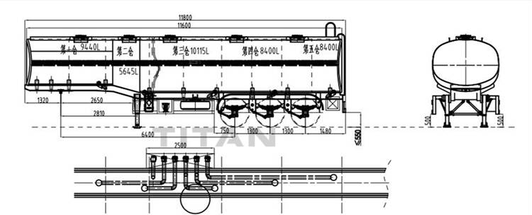 45000 liters 5 compartments fuel tanker technical drawing