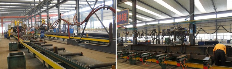 Submerged arc welding beams, beams fixed