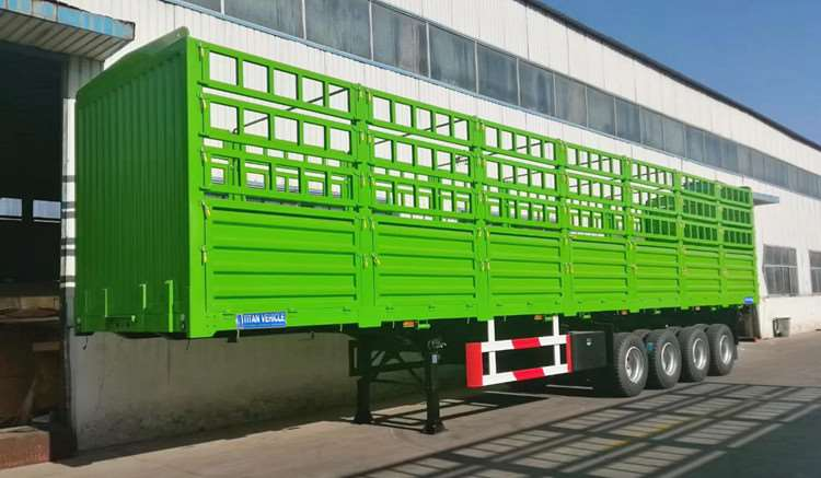 China Stake Semi Trailer for Sale - 4 Axle 60 Ton Fence Cargo Truck Trailer