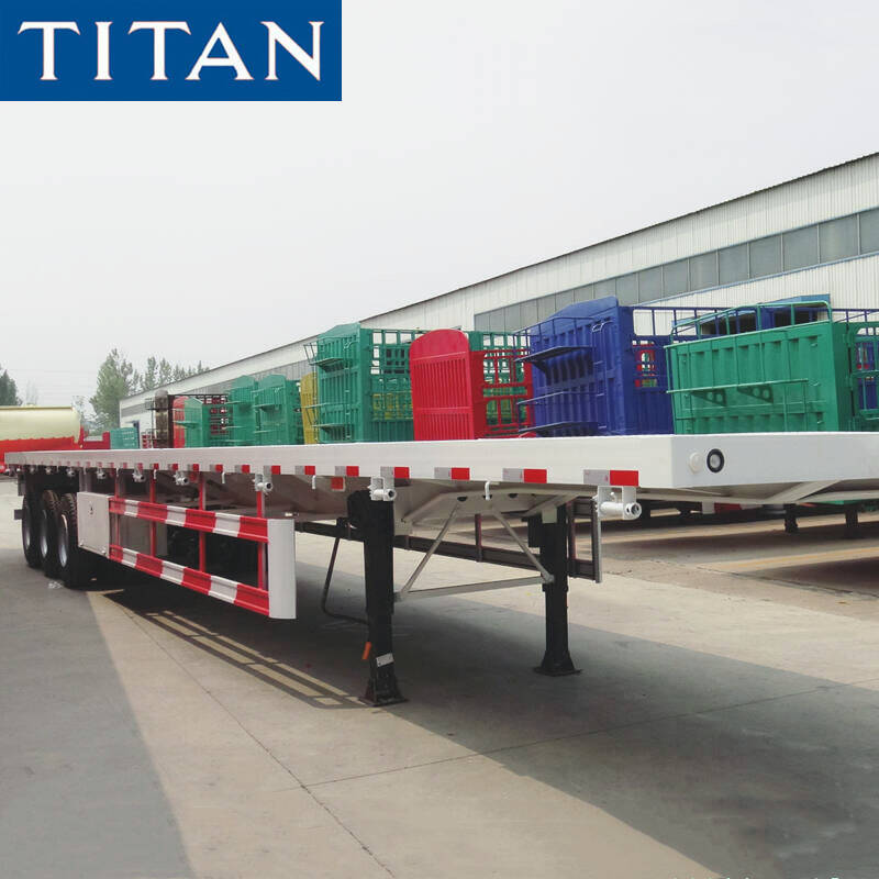 China Hot Sale Double Axles 20ft Flat Bed 40ft 3 Axles