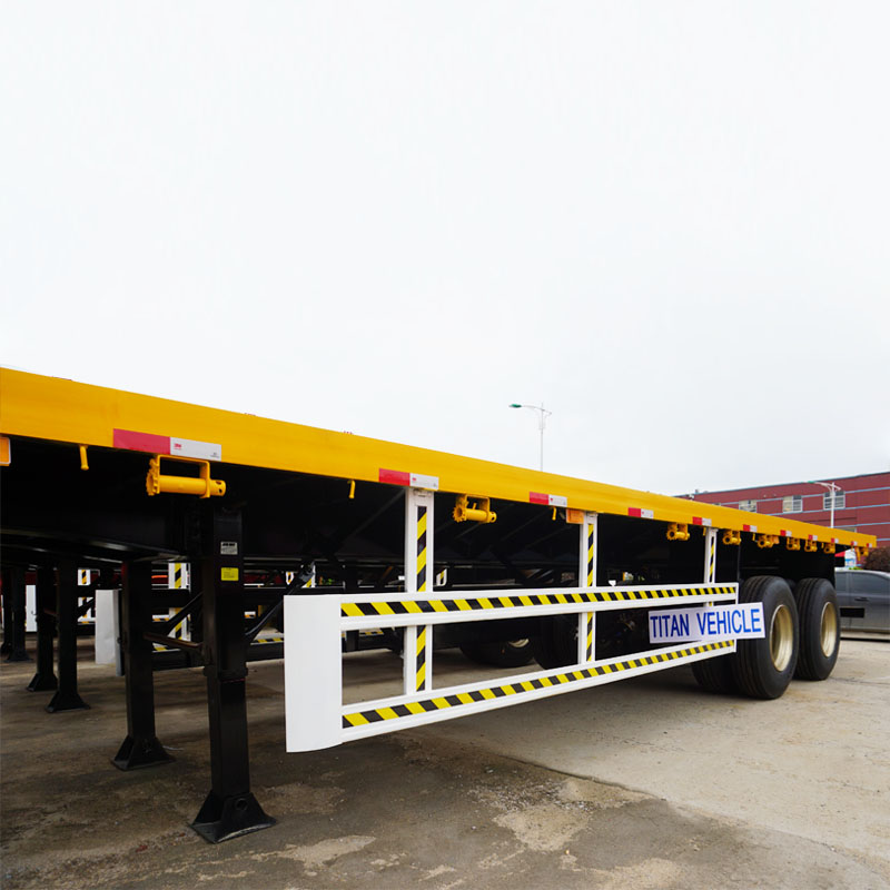 2 Axles flatbed container semi trailer