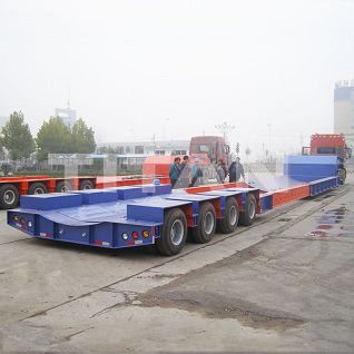 extendable low loader telescopic semi trailer